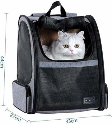 Hunderucksack Katzenrucksack für kleine Hunde Katzen Transporttasche mit Mesh Fenster, Staubtuch,Tragbare und Erweiterbare Outdoor Faltbarer Raum Tragetasche - 2