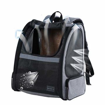 Hunderucksack Katzenrucksack für kleine Hunde Katzen Transporttasche mit Mesh Fenster, Staubtuch,Tragbare und Erweiterbare Outdoor Faltbarer Raum Tragetasche - 3