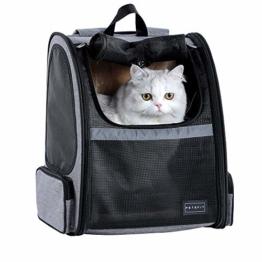 Hunderucksack Katzenrucksack für kleine Hunde Katzen Transporttasche mit Mesh Fenster, Staubtuch,Tragbare und Erweiterbare Outdoor Faltbarer Raum Tragetasche - 1