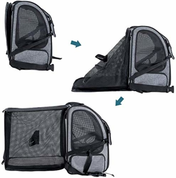Hunderucksack Katzenrucksack für kleine Hunde Katzen Transporttasche mit Mesh Fenster, Staubtuch,Tragbare und Erweiterbare Outdoor Faltbarer Raum Tragetasche - 4