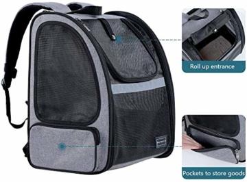 Hunderucksack Katzenrucksack für kleine Hunde Katzen Transporttasche mit Mesh Fenster, Staubtuch,Tragbare und Erweiterbare Outdoor Faltbarer Raum Tragetasche - 5