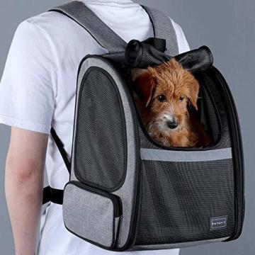 Hunderucksack Katzenrucksack für kleine Hunde Katzen Transporttasche mit Mesh Fenster, Staubtuch,Tragbare und Erweiterbare Outdoor Faltbarer Raum Tragetasche - 6