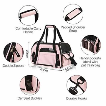Kaka mall Transporttasche für Katzen Hunde Comfort Fluggesellschaft Zugelassen Travel Tote Weiche Seiten Tasche für Haustiere(S,Pink) - 2