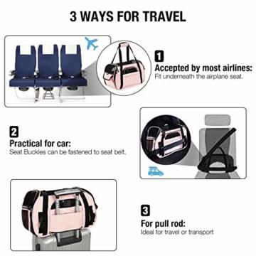 Kaka mall Transporttasche für Katzen Hunde Comfort Fluggesellschaft Zugelassen Travel Tote Weiche Seiten Tasche für Haustiere(S,Pink) - 3