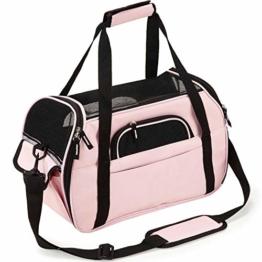 Kaka mall Transporttasche für Katzen Hunde Comfort Fluggesellschaft Zugelassen Travel Tote Weiche Seiten Tasche für Haustiere(S,Pink) - 1