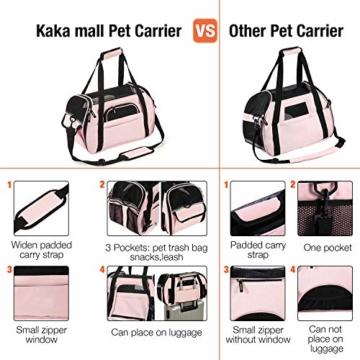 Kaka mall Transporttasche für Katzen Hunde Comfort Fluggesellschaft Zugelassen Travel Tote Weiche Seiten Tasche für Haustiere(S,Pink) - 4