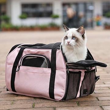 Kaka mall Transporttasche für Katzen Hunde Comfort Fluggesellschaft Zugelassen Travel Tote Weiche Seiten Tasche für Haustiere(S,Pink) - 5