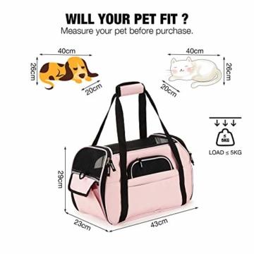Kaka mall Transporttasche für Katzen Hunde Comfort Fluggesellschaft Zugelassen Travel Tote Weiche Seiten Tasche für Haustiere(S,Pink) - 6