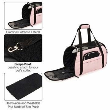 Kaka mall Transporttasche für Katzen Hunde Comfort Fluggesellschaft Zugelassen Travel Tote Weiche Seiten Tasche für Haustiere(S,Pink) - 7
