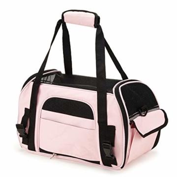 Kaka mall Transporttasche für Katzen Hunde Comfort Fluggesellschaft Zugelassen Travel Tote Weiche Seiten Tasche für Haustiere(S,Pink) - 8