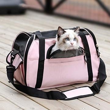 Kaka mall Transporttasche für Katzen Hunde Comfort Fluggesellschaft Zugelassen Travel Tote Weiche Seiten Tasche für Haustiere(S,Pink) - 9