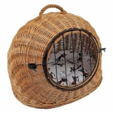 Katzenkorb aus Weide mit Kissen | Größe S 45x35x44 cm braun Natur | abnehmbares Metall-Gitter Transportkorb/Transportbox für Katzen Hunde | Katzenhöle Hundebett (S) - 1