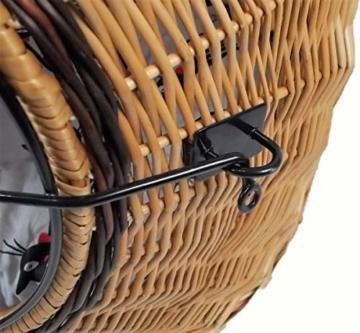 Katzenkorb aus Weide mit Kissen | Größe S 45x35x44 cm braun Natur | abnehmbares Metall-Gitter Transportkorb/Transportbox für Katzen Hunde | Katzenhöle Hundebett (S) - 3