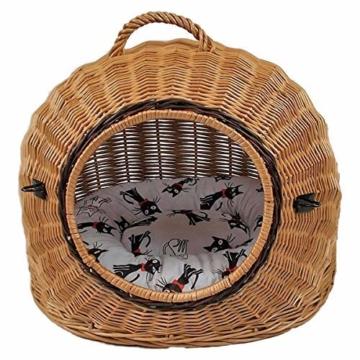 Katzenkorb aus Weide mit Kissen | Größe S 45x35x44 cm braun Natur | abnehmbares Metall-Gitter Transportkorb/Transportbox für Katzen Hunde | Katzenhöle Hundebett (S) - 6