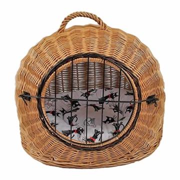 Katzenkorb aus Weide mit Kissen | Größe S 45x35x44 cm braun Natur | abnehmbares Metall-Gitter Transportkorb/Transportbox für Katzen Hunde | Katzenhöle Hundebett (S) - 7