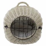 Katzenkorb aus Weide Weiß Gebleicht | Größe S 45x35x44 cm | abnehmbares Metall-Gitter Transportkorb/Transportbox für Katzen Hunde | Katzenhöle - 1