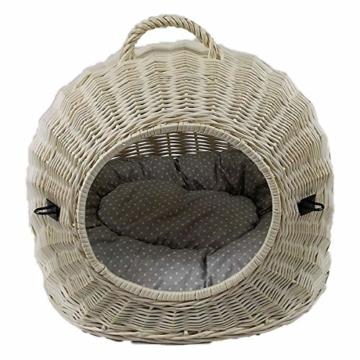 Katzenkorb aus Weide Weiß Gebleicht | Größe S 45x35x44 cm | abnehmbares Metall-Gitter Transportkorb/Transportbox für Katzen Hunde | Katzenhöle - 5