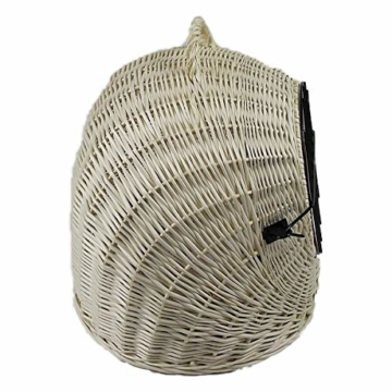 Katzenkorb aus Weide Weiß Gebleicht | Größe S 45x35x44 cm | abnehmbares Metall-Gitter Transportkorb/Transportbox für Katzen Hunde | Katzenhöle - 7
