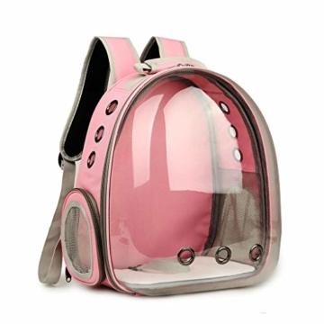 Luluspace Haustier Rucksack Raumkapsel, 360 ° Sichtfeld Tragbar Transportrucksack Transporttasche Tragetasche für Klein Haustier Hunde Katzen Kaninchen im Freien, Sicher & Atmungsaktiv (Rosa) - 1