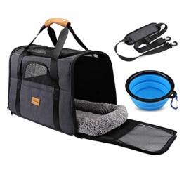 morpilot Faltbare Hundetragetasche Katzentragetasche, Haustiertragetasche, Transporttasche Transportbox Oxford Gewebe, mit Schultergurt und Faltbare Hundenapf für Hunden oder Katzen - 1