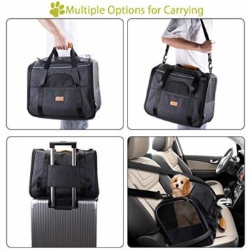morpilot Faltbare Hundetragetasche Katzentragetasche, Haustiertragetasche, Transporttasche Transportbox Oxford Gewebe, mit Schultergurt und Faltbare Hundenapf für Hunden oder Katzen - 4