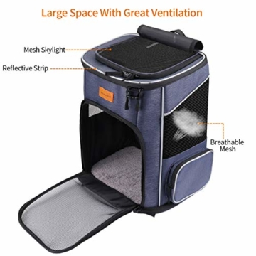morpilot Hunderucksack, Katzenrucksack für Katzen und Hunde Welpen, Atmungsaktive und Faltbare Haustier Hunde Rucksack mit internem Sicherheitsgur (13 * 11 * 16.5 inch) + Faltbare Hundenapf - 2