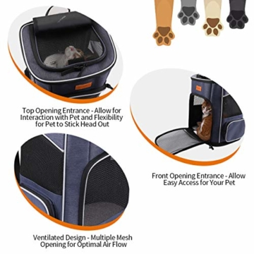 morpilot Hunderucksack, Katzenrucksack für Katzen und Hunde Welpen, Atmungsaktive und Faltbare Haustier Hunde Rucksack mit internem Sicherheitsgur (13 * 11 * 16.5 inch) + Faltbare Hundenapf - 4