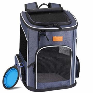 morpilot Hunderucksack, Katzenrucksack für Katzen und Hunde Welpen, Atmungsaktive und Faltbare Haustier Hunde Rucksack mit internem Sicherheitsgur (13 * 11 * 16.5 inch) + Faltbare Hundenapf - 1