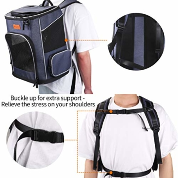 morpilot Hunderucksack, Katzenrucksack für Katzen und Hunde Welpen, Atmungsaktive und Faltbare Haustier Hunde Rucksack mit internem Sicherheitsgur (13 * 11 * 16.5 inch) + Faltbare Hundenapf - 5