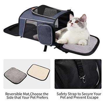 morpilot Hunderucksack, Katzenrucksack für Katzen und Hunde Welpen, Atmungsaktive und Faltbare Haustier Hunde Rucksack mit internem Sicherheitsgur (13 * 11 * 16.5 inch) + Faltbare Hundenapf - 6