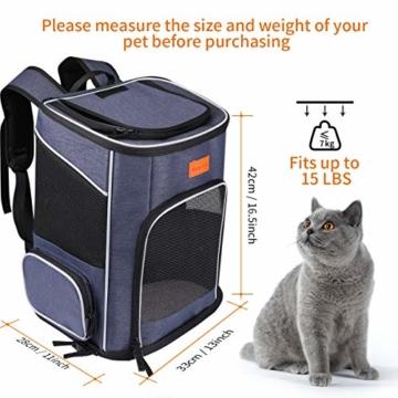 morpilot Hunderucksack, Katzenrucksack für Katzen und Hunde Welpen, Atmungsaktive und Faltbare Haustier Hunde Rucksack mit internem Sicherheitsgur (13 * 11 * 16.5 inch) + Faltbare Hundenapf - 7