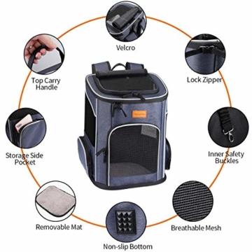morpilot Hunderucksack, Katzenrucksack für Katzen und Hunde Welpen, Atmungsaktive und Faltbare Haustier Hunde Rucksack mit internem Sicherheitsgur (13 * 11 * 16.5 inch) + Faltbare Hundenapf - 8