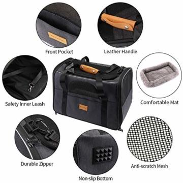 morpilot Hundetasche Transportbox, Atmungsaktive und Faltbare Hundebox, Katzen transportboxen mit Verstellbarem Schultergurt, Katzentransportkäfig mit Abnehmbarer Plüschmatratze + Schüssel - 2