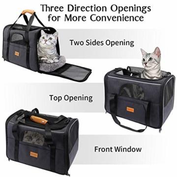 morpilot Hundetasche Transportbox, Atmungsaktive und Faltbare Hundebox, Katzen transportboxen mit Verstellbarem Schultergurt, Katzentransportkäfig mit Abnehmbarer Plüschmatratze + Schüssel - 3