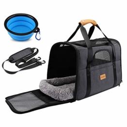 morpilot Hundetasche Transportbox, Atmungsaktive und Faltbare Hundebox, Katzen transportboxen mit Verstellbarem Schultergurt, Katzentransportkäfig mit Abnehmbarer Plüschmatratze + Schüssel - 1