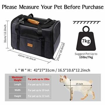morpilot Hundetasche Transportbox, Atmungsaktive und Faltbare Hundebox, Katzen transportboxen mit Verstellbarem Schultergurt, Katzentransportkäfig mit Abnehmbarer Plüschmatratze + Schüssel - 5