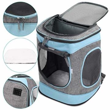Navaris Rucksack für Hund Katze gepolstert - Hunderucksack Katzenrucksack - 33x28x43cm Haustier Backpack faltbar - Traglast bis 15kg - 4