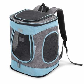 Navaris Rucksack für Hund Katze gepolstert - Hunderucksack Katzenrucksack - 33x28x43cm Haustier Backpack faltbar - Traglast bis 15kg - 1