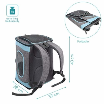 Navaris Rucksack für Hund Katze gepolstert - Hunderucksack Katzenrucksack - 33x28x43cm Haustier Backpack faltbar - Traglast bis 15kg - 5