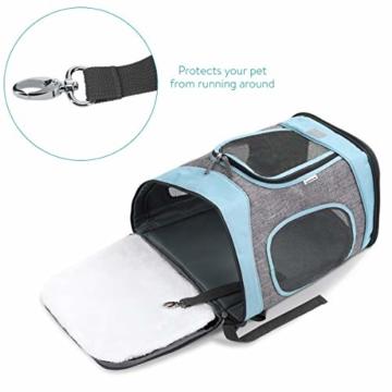 Navaris Rucksack für Hund Katze gepolstert - Hunderucksack Katzenrucksack - 33x28x43cm Haustier Backpack faltbar - Traglast bis 15kg - 6