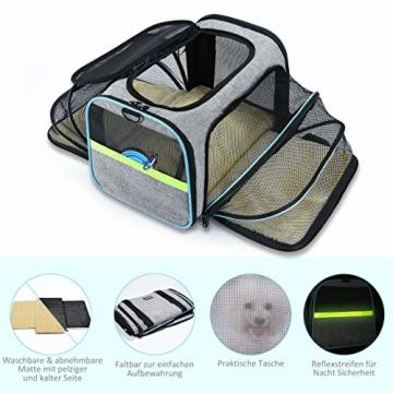 OMORC Erweiterbare Transporttasche Katze, die meisten Airlines genehmigte Tragetasche Katze, faltbare Transportbox Katze, weiche Hundetasche für kleine Tiere mit Schultergurt in Flugzeug/Auto - 3