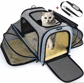 OMORC Erweiterbare Transporttasche Katze, die meisten Airlines genehmigte Tragetasche Katze, faltbare Transportbox Katze, weiche Hundetasche für kleine Tiere mit Schultergurt in Flugzeug/Auto - 1