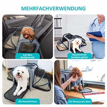 OMORC Erweiterbare Transporttasche Katze, die meisten Airlines genehmigte Tragetasche Katze, faltbare Transportbox Katze, weiche Hundetasche für kleine Tiere mit Schultergurt in Flugzeug/Auto - 5
