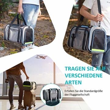 OMORC Erweiterbare Transporttasche Katze, die meisten Airlines genehmigte Tragetasche Katze, faltbare Transportbox Katze, weiche Hundetasche für kleine Tiere mit Schultergurt in Flugzeug/Auto - 8