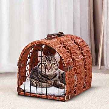 Pawhut Katzenbett mit Kissen, Katzenkorb, Transportbox mit Griffen, Weide, Braun, 42 x 35 x 37 cm - 2