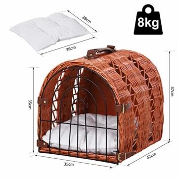 Pawhut Katzenbett mit Kissen, Katzenkorb, Transportbox mit Griffen, Weide, Braun, 42 x 35 x 37 cm - 8