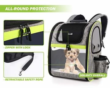 Pecute Haustier Rucksäcke für Hund und Katzen mit Front Opening Transparente Fenstertaschen,Tragbare und Erweiterbare Outdoor Faltbarer Raum Tragetasche Grau(maximale Last 6kg) - 7