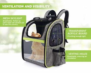 Pecute Haustier Rucksäcke für Hund und Katzen mit Front Opening Transparente Fenstertaschen,Tragbare und Erweiterbare Outdoor Faltbarer Raum Tragetasche Grau(maximale Last 6kg) - 8