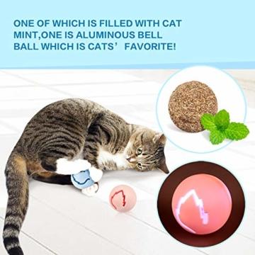 Pecute Katzenspielzeug Katze Toys 4 Turm und 4 Bälle mit Katzenminze Bälle/Glühende Bälle/Katzenangel Maus (Blau) - 2