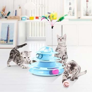 Pecute Katzenspielzeug Katze Toys 4 Turm und 4 Bälle mit Katzenminze Bälle/Glühende Bälle/Katzenangel Maus (Blau) - 3